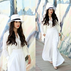 Anyelina G. - Forever 21 White Fedora, Sheinside White Vest, Suite Blanco White Shirt, Jorge Bischoff Nude Pumps - All White