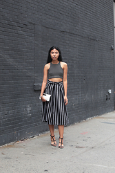 Sharena C. - American Apparel Black And White Stipe Crop Top, Oasap Black And White Stripe Culottes, Calvin Klein White Clutch, Asos Black Strap Heels - Horizontal and Vertical Stripes