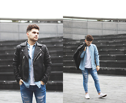 Gerard Molón - Topman Faux Leather Jacket, Pull & Bear Denim Shirt, Zara Denim Ripped Jeans - DENIM