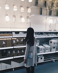 Shu Hui - H&M Grey Cardigan, Holographic Slingbag, Forever 21 Skinny Jeans, Obaku Watch - Aesthetic