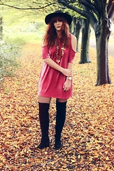 Leigh Travers - Asos Fedora, Missguided Dress, New Look Thigh High Boots - PINK VELVET