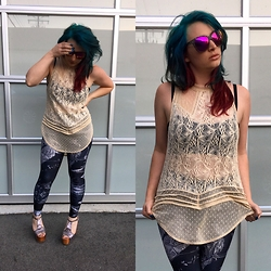 Lindsay Mulsow - Jeffrey Campbell Foxy Platforms, Black Milk Clothing Birth Of Venus 2.0 Leggings, Free People High Neck Top, Brandy Melville Usa Bralette, Quay About Last Night Sunnies - Comfy Femininity