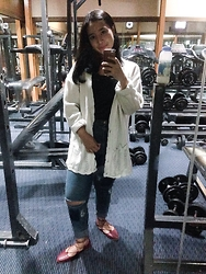 Nafisa Salma - H&M Ripped Jeans, The Little Things She Needs Red Flat Strap Shoes - After Gym