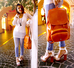 Cy Rasella - Clop Slingbag, Victoria Platform Shoes, Marie.S Shirt - WhiteJeans