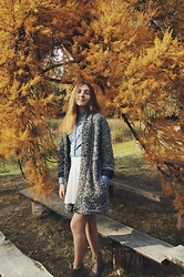 Nelia C - Reserved Oversized Cardigan, Reserved Jeans Shirt, Bershka Skirt, New Look Boots - Sweet Fall