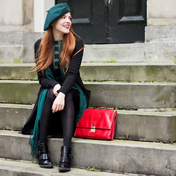 Sonja Vogel - Tamaris Ankle Boots, Shoeby Duster Coat, From Paris Beret, Thrifted Red Bag - All That Green