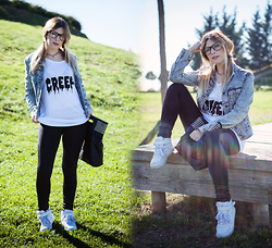 Vita Dinamita - Dealsale Creep Shirt, Dealsale Pu Leather Bag, Nike White Sneakers, Dealsale Black Leggings, Primark Denim Jacket - But I'm a creep, I'm a weirdo