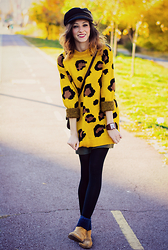Evilish Queeny - Yoins Yellow Leopard Print Sweater, H&M Black Cap, Jord Red Sandalwood Watch, Stradivarius Camel Chelsea Boots - Dipped in Mustard