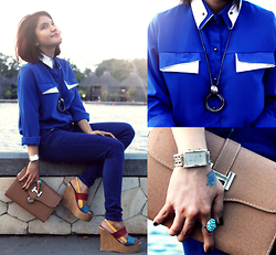 Cy Rasella - Anne Shirt, Pink Wedges, Naughty Ring, Guess Watch - BlueXblue