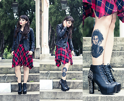 Camilla Marques - Zara Check Skirt, Zara Leather Jacket, Spiked Lita Boots - Spiked Lita Boots, Tartan Skirt & New Tattoo
