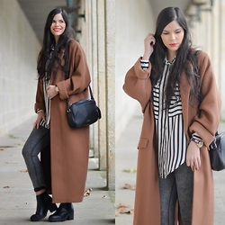 Paula Deiros - Zara Shirt - Long Brown Coat