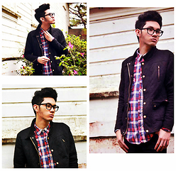 Mark Glenn Rey Bajao - Penshoppe Black Diamond Jacket, H&M Standard Red & Blue Plaids, Ray Ban Wayfarer Transparent - Nice Guy High
