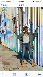 Godiva Camara - Nasty Gal Bomber Jacket, Urban Outfitters Lace Up Top, American Eagle Outfitters Girlfriend Jeans, Timberland Booties - #bomberseason