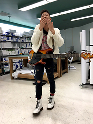 Alex Yachi - Forever 21 Faux Fur Jacket, Hysteric Glamour Graphic Tee, Rude Ripped Jeans, Dr. Martens White Docs - Poodle bass