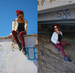 Aidana Assubayeva - Stylenanda Burgundy Hat, Zara Leather Top, Zara Burgundy Pants, Stylenanda Round Glasses - Grunge day