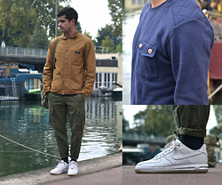 Boris Cornilleau - Bleu De Paname Comptoir Jacket, Bask In The Sun Heavt Sweater, Dockers Cargo Pants, Nike Lunar Force 1 - Pray for my Paris