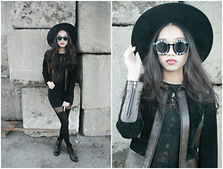 Sophie C - Cndirect Sunglasses, Tristan Jacket, H&M Top And Skirt, Aldo Boots, Forever 21 Hat, Ebay Tights - Shattered