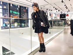 Chiemi Ito - Unif Choke Boots, Boy London Bomber Jacket - Looking Down
