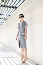 Anastasia Siantar - Salvatore Ferragamo Sunnies, Mcq Cardigan, Christian Louboutin Bianca Pumps, Thea By Thara Shorts - Under the shade