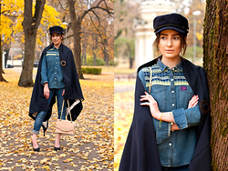 Anna Puzova - Recycled.Lv Wrap, Superdry Shirt, Zara Jeans, Aldo Hells, New Look Bag, Breton Cap, Acevivi Eyeshadow - RECYCLED.LV | RFW Look 2