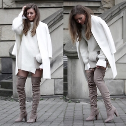 Livia Auer - Asos Beige Overknees, Edited Mohair Jumper Knit Dress, Zara White Coat - BEIGE OVERKNEES