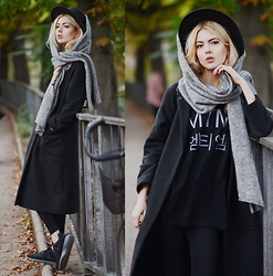 Ebba Zingmark - Brixtol Coat, Mind The Mustard Tee, &Other Stories Scarf, Reval Denim Guild Hat, Nike Sneakers - A WITNESS