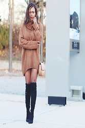 Rose L - H&M Sweater Dress, Ivanka Trump Sarena Otk, Forever 21 F21 Drew Look A Like Bag - Sweater Dress