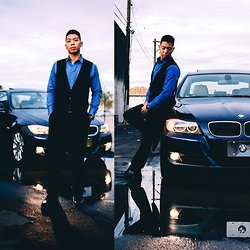 Gary Agunos - Express 1mx, Express Vest, Express Double Sided Belt, Michael Kors Rose Gold, Express Dress Shoes - Blue BMW