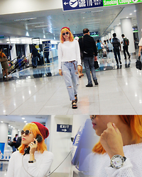 Alixandrea O. - H&M Glittery Sweater, H&M Girlfriend Jeans, H&M Chunky Sandals, H&M Braided Suede Belt, Forever 21 Red Knitted Beanie, Forever 21 Sunglasses, Newyork Army Watch - Airport Mod