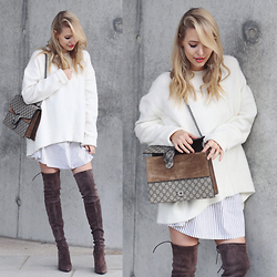 Leonie Hanne - Sweater, Over The Knee Boots, Dionysus Bag, Shirt - Suede over the knee boots & Cozy sweater
