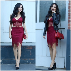 Rachel Vogt - Lex & Mila Lace Set, Saint Laurent Janis Pumps, Chanel Boy, Bcbg Maxazria Leather Jacket, My Blog - Lace & leather
