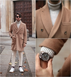 Filippo Fiora - Caruso Coat, Hamilton Watch, Uniqlo Sweater, Brioni Pants - CAMEL COAT