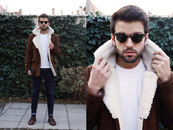 Marc Galobardes - Zara Lamb Jacket, Zara Skinny Jeans, H&M Brown Shoes - LAMB