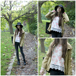 Lily Braz - America Today Military Green Jacket, Jennyfer Flowers Sweater, Jegging, H&M High Boots, C&A Capeline - Breathe in the Autumn Air