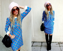 Joanna L - Mia Donna Dress, Primark Over Knee Boots, Bershka Hat, Brylove Sunnies - Electric blue