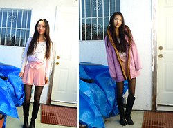 Julie Tao - Got It From Asia Green Hearts Black Tights/Nylons, Le Chateau Black Knee High Boots, Got This From Asia Pink Bow Shorts, H&M Skeleton Heart Crop Shirt, Ardene Pink Tank Top Cuz Its Cold, Pink Winter Jacket - Sinclaire