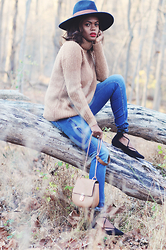Rose L - Forever 21 Camel Sweater, Zara Skinny Jeans, Topshop Lace Up Flats, H&M Blue Wool Hat - In The Woods