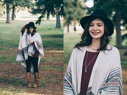 Nicole Buhler - Garage Clothing Poncho, Target Hat, Brandy Melville Sweater, Garage Clothing Leggings, Steve Madden Shoes, Brandy Melville Necklace - Cozy Poncho Days