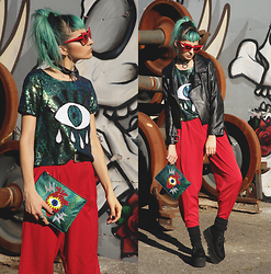 Gina Vadana - Sheinside Top, Tuk Creepers, Poppy Lissiman Clutch, La Moda Choker, Freyrs Sunnies - SPARKLY || 4TH STYLE