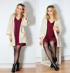 Wioletta Mary Kate - Sheinside Cardigan, Sheinside Dress - Burgundy Dress & Beige Cardigan