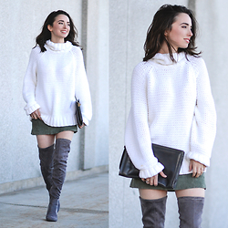 Carissa G. - Liz Claiborne Sweater, Forever 21 Over The Knee Boots, Limited Too Skirt - Suede and Chunky Knits