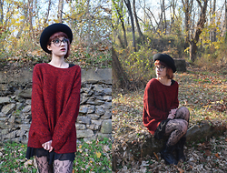 Danika Michelle - Burning Bridge Antiques Vintage Felt Brimmed Hat, Forever 21 Oversized Red Sweater - The Long Goodbye