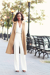 Rose L - Asos Camel Sleeveless Coat, Zara Off White Wide Leg Trousers - White Fall