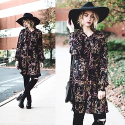 Jenny C. - H&M Dress, Nasty Gal Hat, Coach Purse, Boohoo Booties, Romwe Jeans - November
