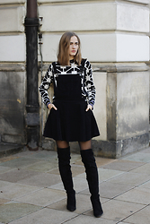Karolina Sabała -  - DUNGAREE DRESS + OVER THE KNEE BOOTS