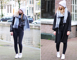 Veshion Life - H&M Beanie, H&M Scarf, Zara Jacket, Topshop Jeans, Adidas Sneakers, Mango Cardigan - Amsterdam look