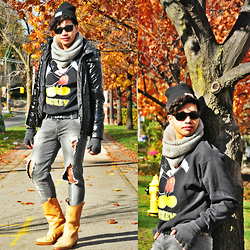 Butch Cervantes - Zara Beanie, Prada Sports Eyewear, H&M Thermal Jacket, Zara Ripped Denim, Vintage Canada Boots - Autumn Perfection!!!