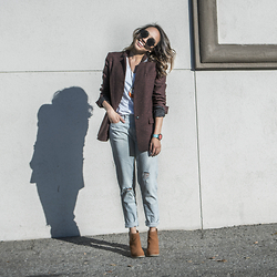 Courtney Y - Banana Republic Burgundy Speckled One Button Jacket, Madewell Striped Boyfriend Jeans, Urban Outfitters Dindle Cut Out Booties - Back to the 80s