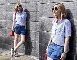 Didi Ibarra Rake - Gap Linen Shirt, Gap Denim Shorts, Hush Puppies Sandals, Michael Kors Handbag - Singing the blues