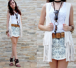 Laila M - C&A Denim Skirt, Renner Fringe Vest, C&A Lace Top, Ray Ban Aviator Sunglasses - This is my romantic pattern
